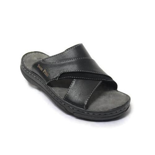 4002070b88d2 Swiss Polo Gentleman Leather Casual Comfort Sandals 4184 (Black)