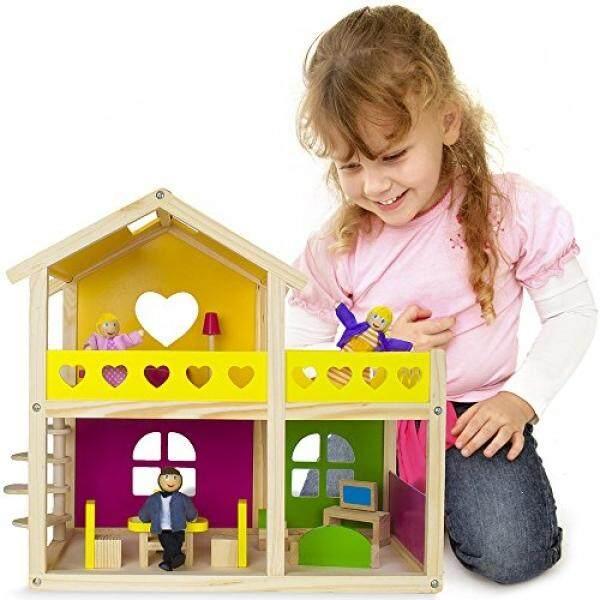 Keajaiban Kayu Cozy Cottage Rumah Boneka dengan 10 Pieces dari Furniture dan 3 Boneka Oleh Imagination Generation-Internasional