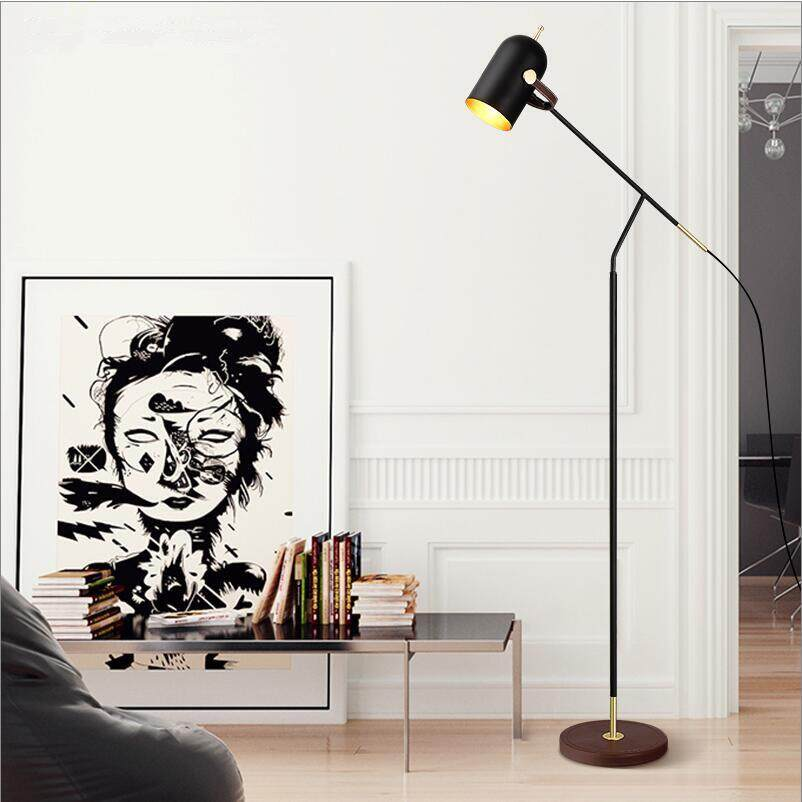 H170cm Black Iron Floor Lamp E27 LED Bedroom Living Room House Home Black Stand Lights 60cm Arm 1 Head Bedside Floor Lamps