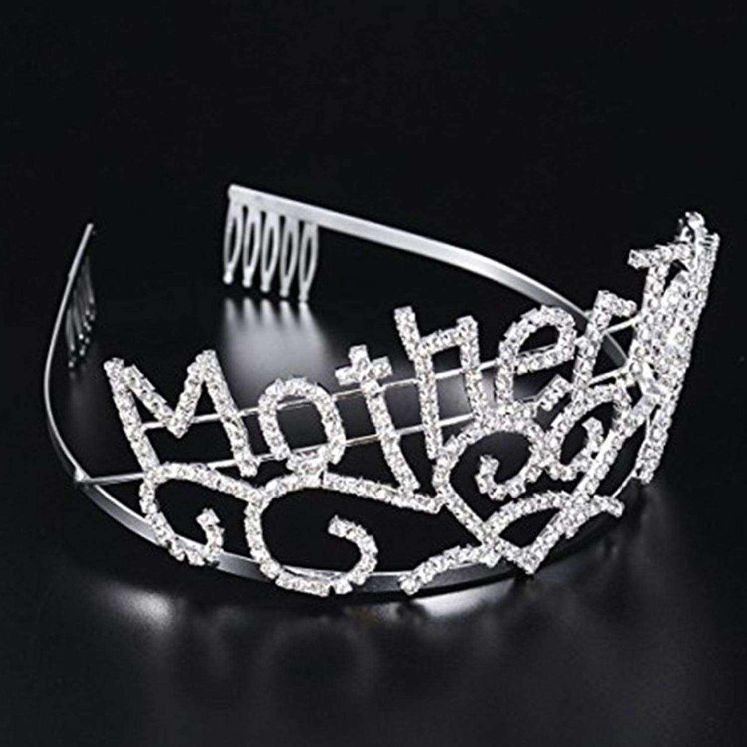 Hình ảnh Metal Silver Mother To Be Tiara Hearts Crown with Sparkling Rhinestones for Baby Shower Future Expecting Mom Decorations Mother Day Gift - intl