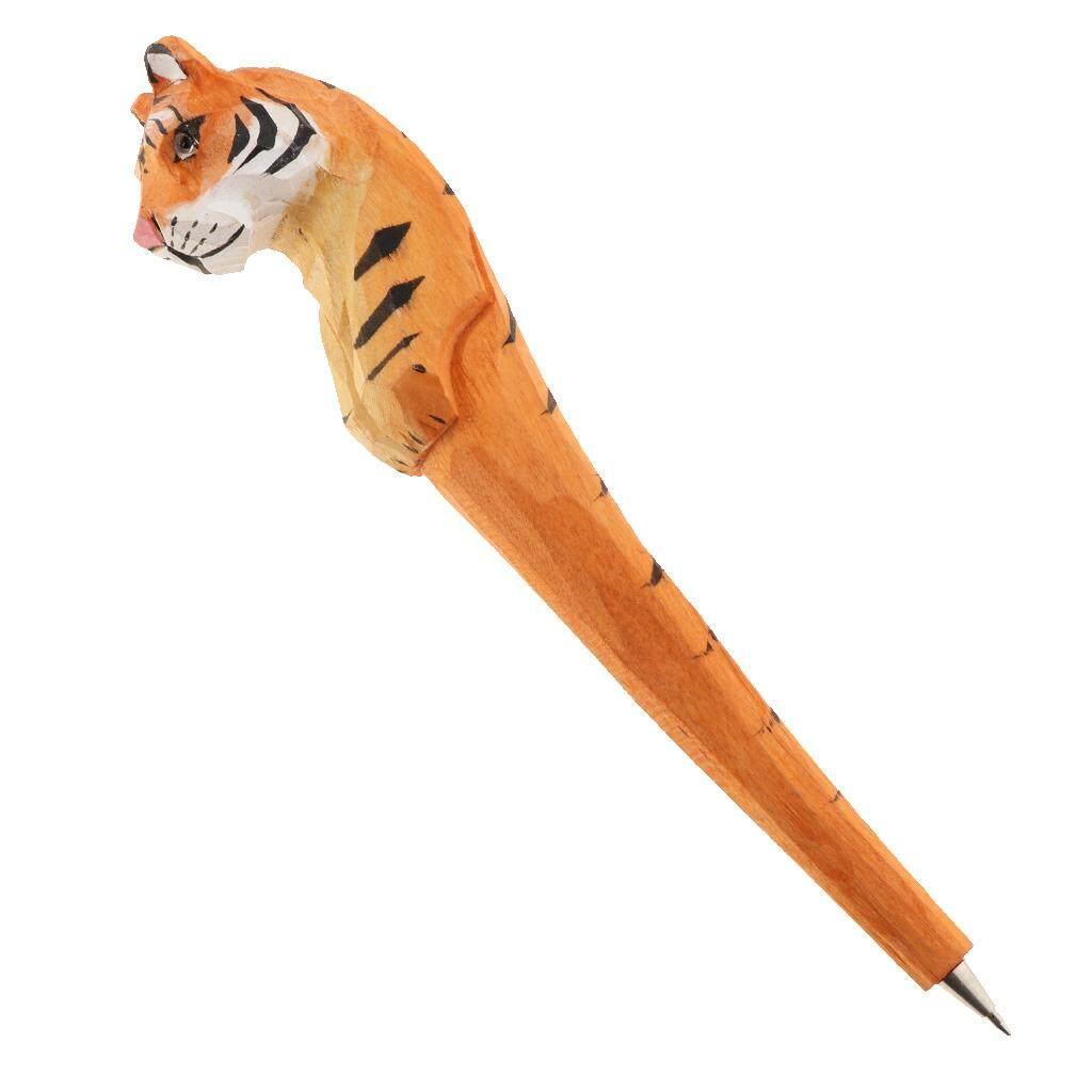 Mua BolehDeals Wooden Hand-Carved Ballpoint Pen Animal Shape Tiger 18x4x2.5cm