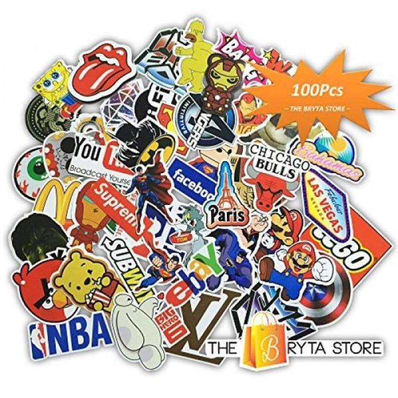 Bryta 100 PREMIUM Stickers Decals Vinyls Pack of The Best Selling Cool Sticker Perfect To Graffiti Your Laptop, Macbook, Skateboard, Luggage, Car, Bumper, Bike, Hard Hat The Store - intl