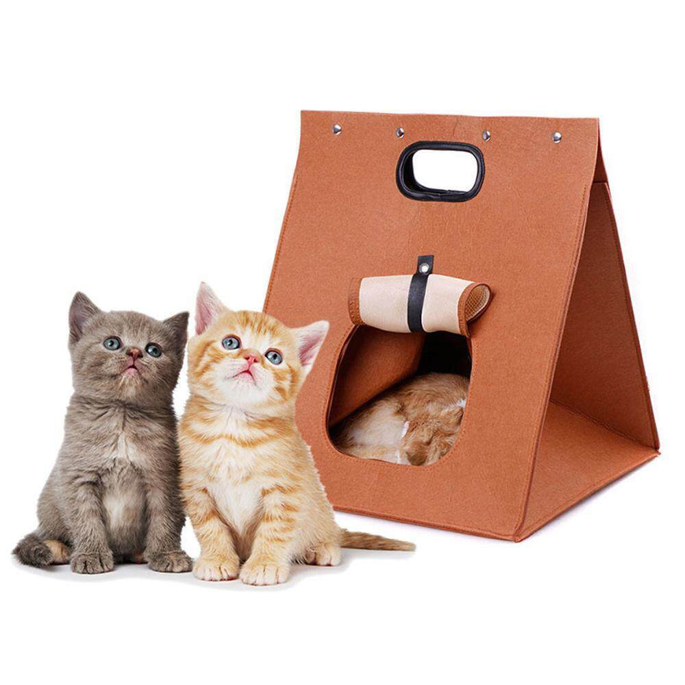 Pet Nest 3 In 1 Multifunctional Cat Dog Felt Pet Bed Washable Portable Folding Incorporate Pet Bag By E-One.