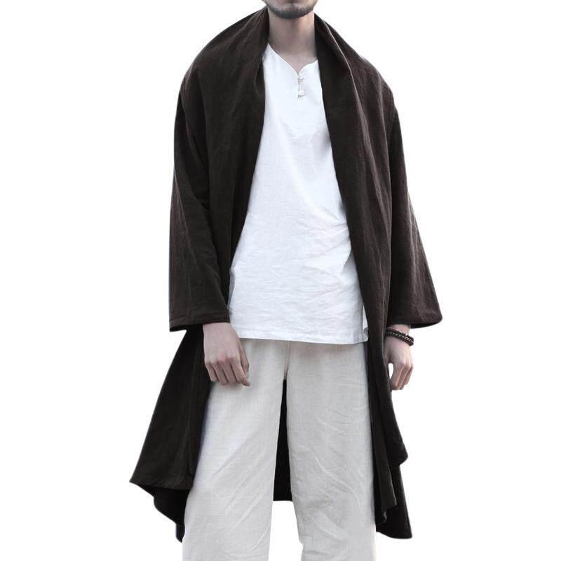 2 ด้านยาวลำลองผู้ชายเสื้อมีฮู้ดแขนยาว Hooded ฤดูใบไม้ร่วง Vintage เสื้อคลุมผ้าม่าน Sweatshirt By Qiaosha.