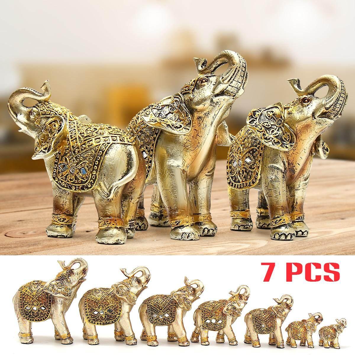 7pcs Golden Elephants Sculpture Ornaments Lucky Feng Shui Home Decoration Gifts 20x10x20cm