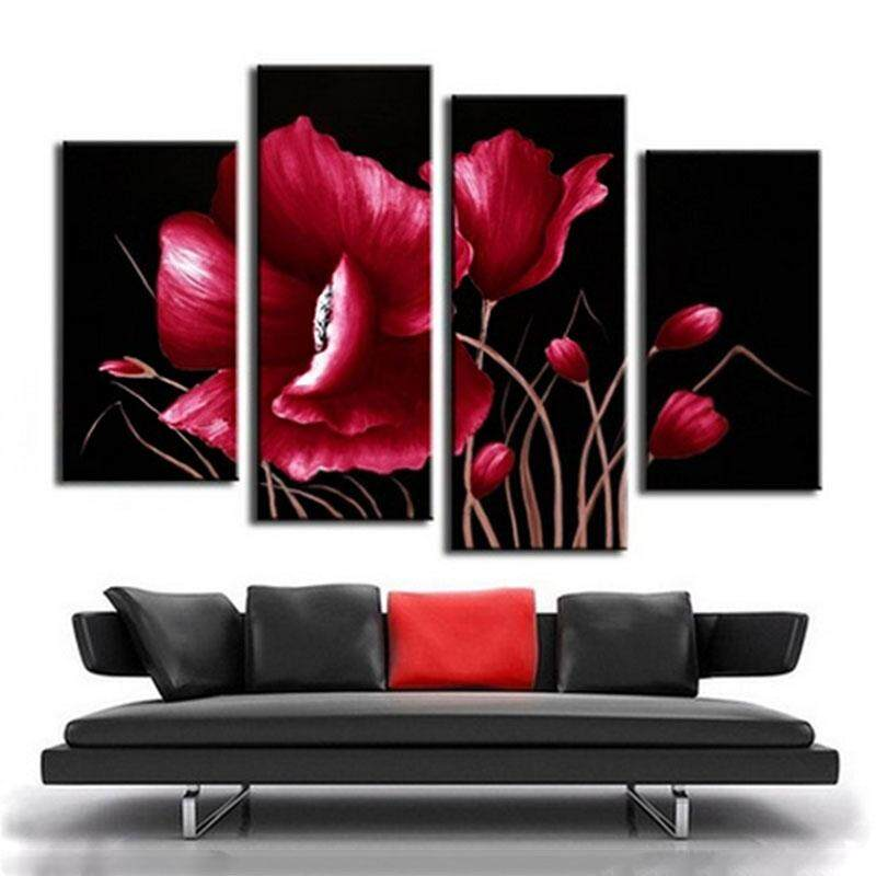 4pcs Lot Abstract Landscape Canvas Art Painted Picture Oil Painting Home Decor Intl