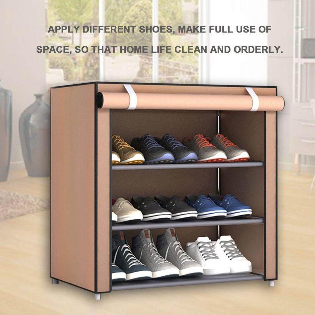 ELEC Dustproof Large Size Non-Woven Fabric Shoes Rack Shoes Organizer Home Bedroom Dormitory Shoe Racks Shelf Cabinet 2 layer - intl
