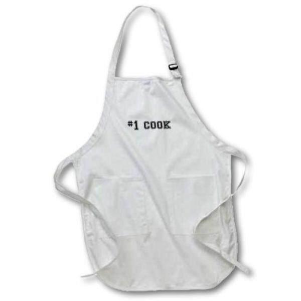 3 Drose #1 Memasak Nomor Satu Koki Terbaik-Teks Hitam-Hadiah untuk Baik Koki Profesional atau penggemar Memasak-Panjang Apron 22 24 Inci, dengan Kantong Kantong-Intl