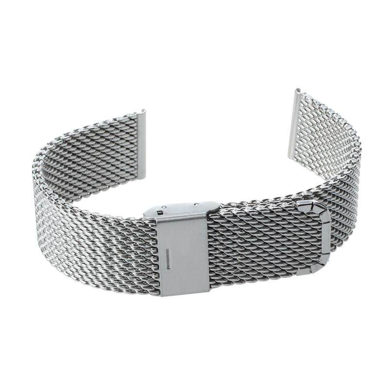 18mm Unisex Mesh Steel Watch Band Strap Bracelet Safety Buckle Silver Hot Malaysia