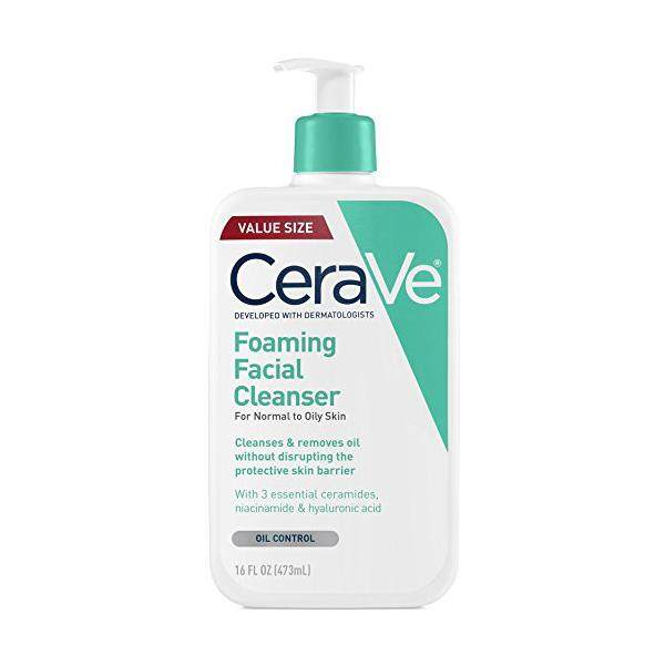 CeraVe Foaming Facial Cleanser 16 oz for Daily Face Washing, Normal to Oily Skin, 16oz