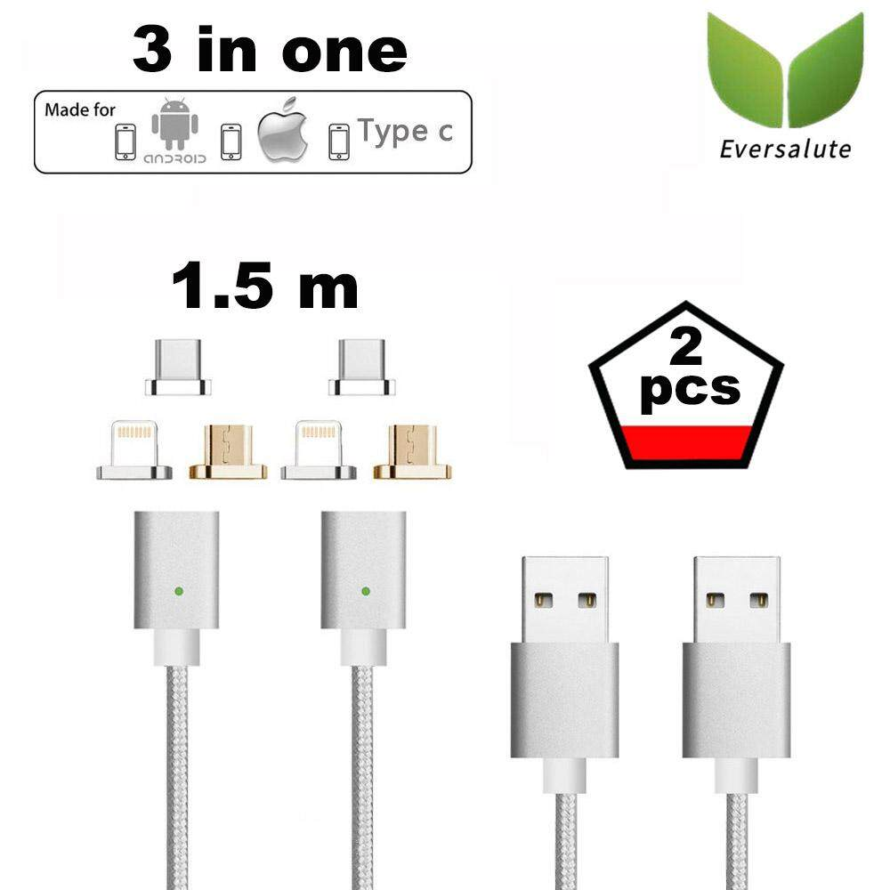 Eversalute Upgrade Version Lightning+USB C+Micro USB 3 in 1 Nylon Braided USB2.0 Magnetic Charging Cable For both Android Smartphone and iPhone(1.5m,2 pack)