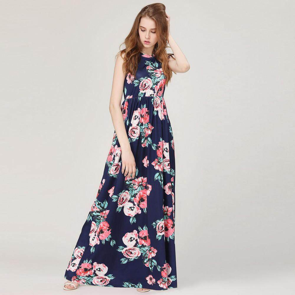 58bcfa07a8bd0 Clothing Women Floral Print Sleeveless Boho Dress Ladies Evening Party Long  Maxi Dress Sousashop