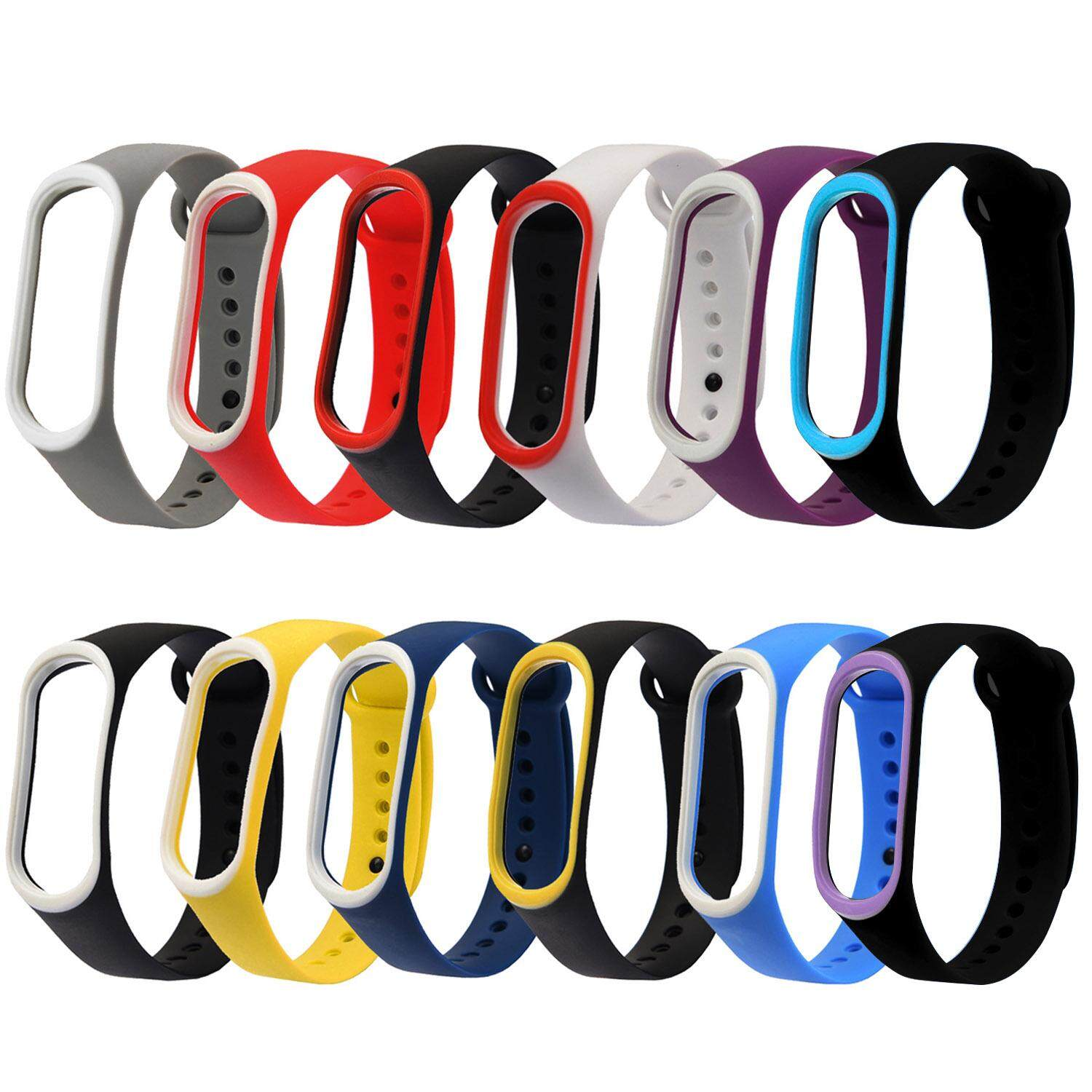 12pcs Assorted Colors Fashion Double-Color Replacement Wristband Watch Strap Bracelet Smart Band Compatible With Xiaomi Xiao Mi Miband Mi Band 3 By Stoneky.