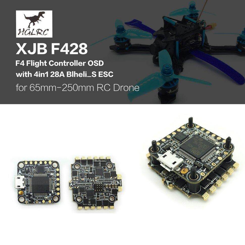 HGLRC XJB F428 F4 penerbangan Controller OSD 4 dalam 1 28A Blheli_S ESC untuk RC Drone