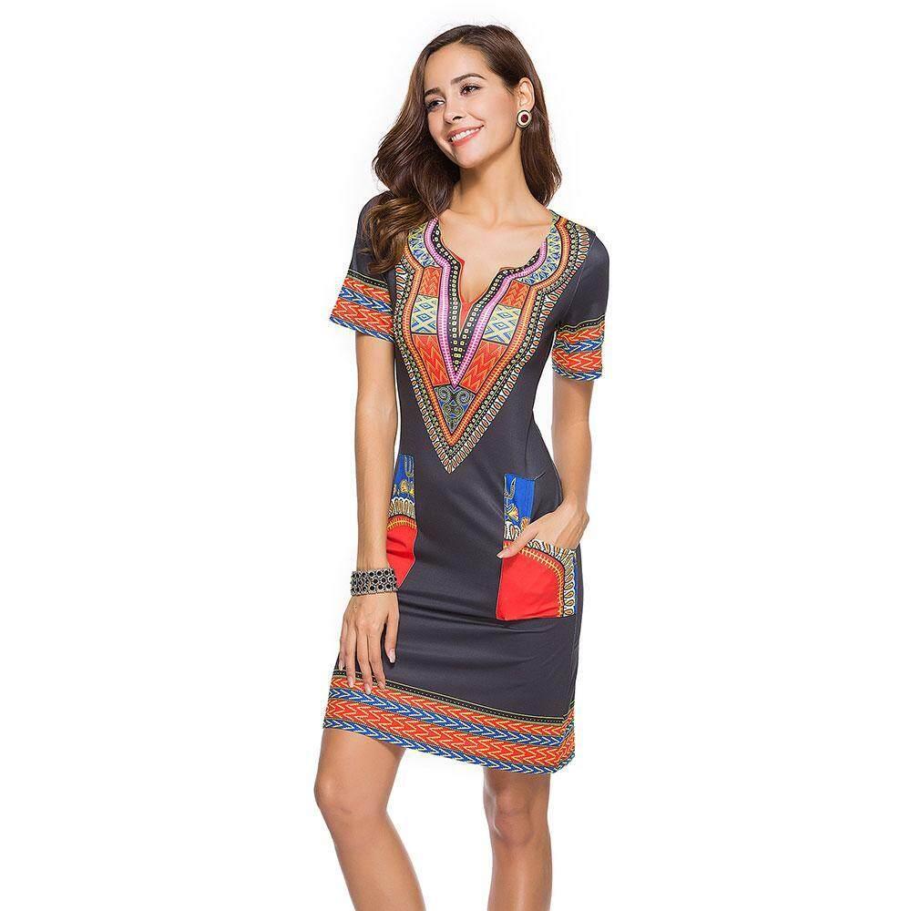 cbb84d7a75 efuture Bohemian Dress 2018 Girl V-neck Short Sleeve Pocket Mini Dresses  Plus Size Casual