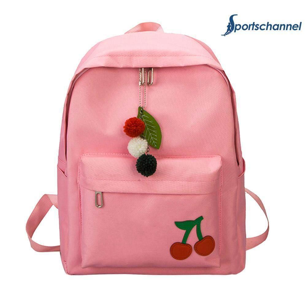 Simple Cute Cherry Women Girls Canvas Backpacks Travel Casual Zipper Shoulder School Bags Rucksacks