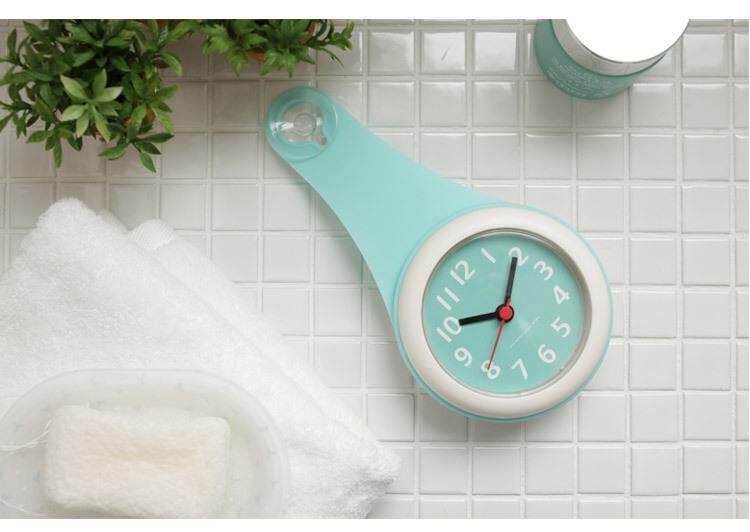 Xueqin Home Bathroom Shower Silica Wall Clock Waterproof Suction Cups Clock Battery Powered Kitchen Refrigerator Decor Clock # Blue