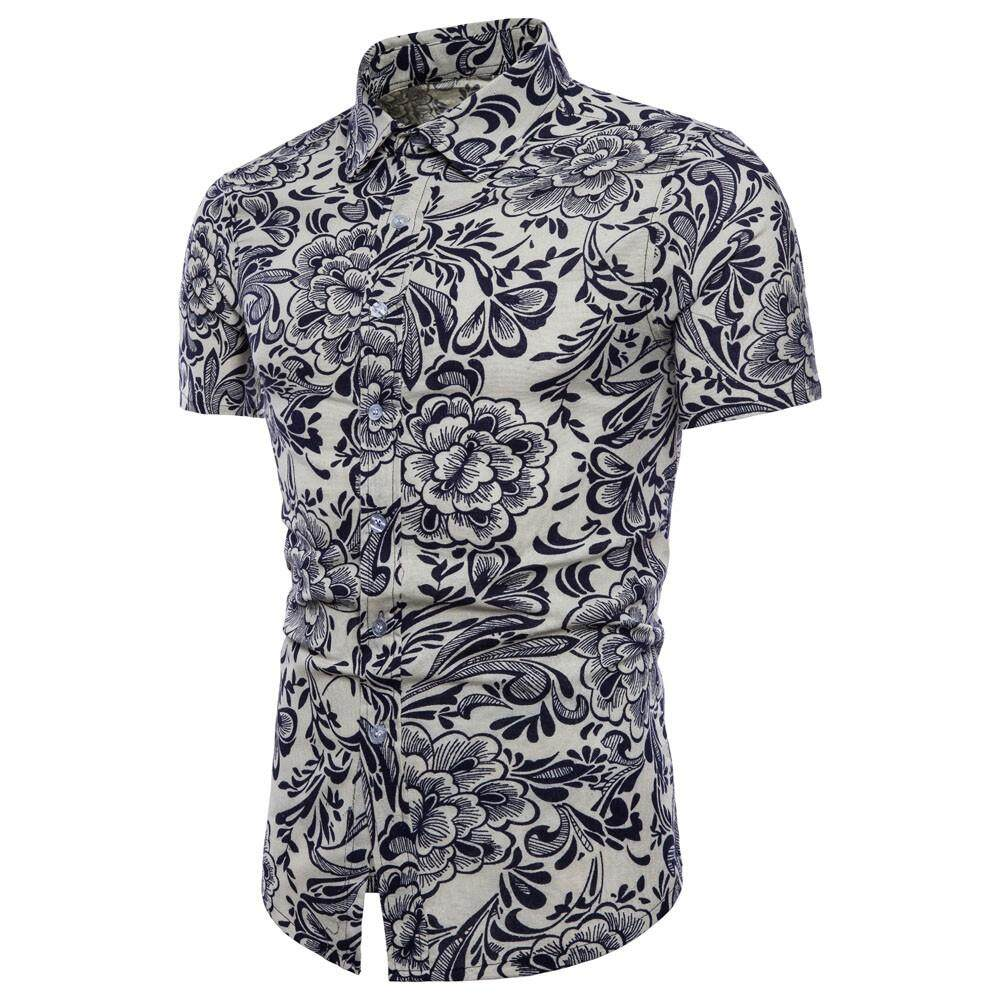 Men Summer Bohe Floral Short Sleeve Linen Basic T Shirt Blouse Top Plus Size By Weondering.
