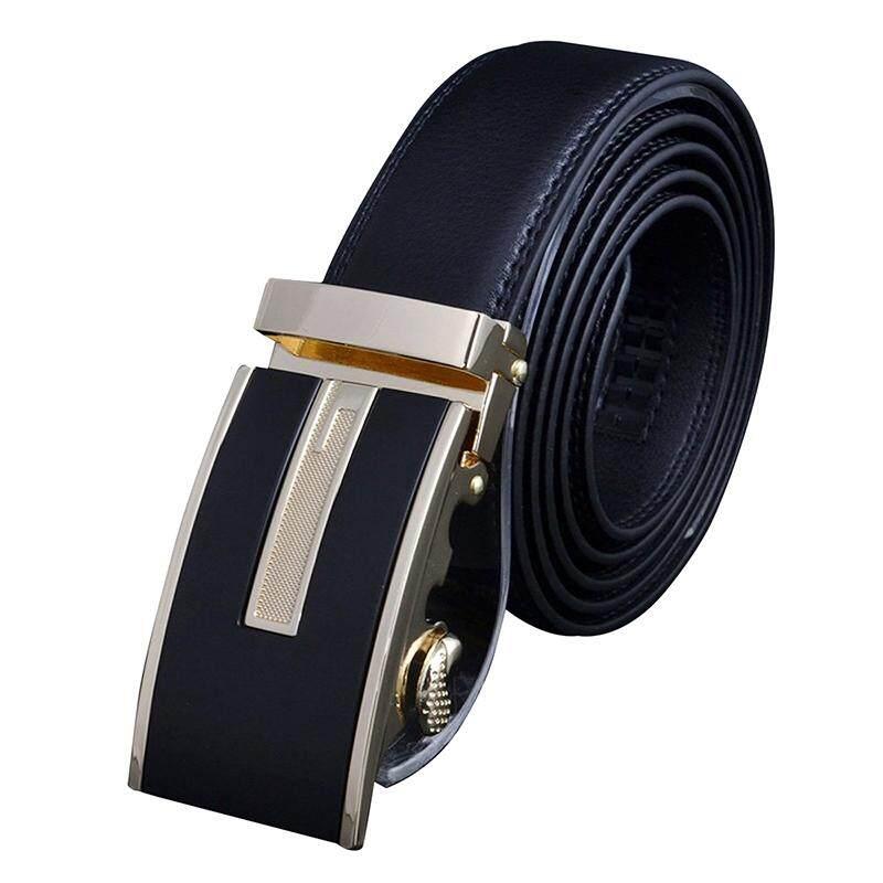 Leather belt Men's automatic buckle formula 76 gold buckle gentleman business belt (120 .