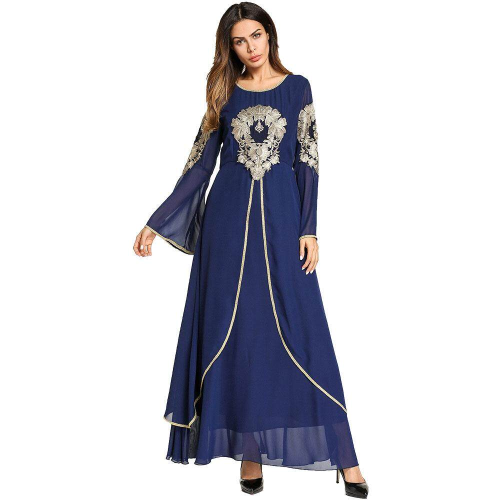 Fashion Chiffon Golden Dress for Women Abaya Arab Malaysia Indonesia Cardigan Muslim Dresses Musical Robe Ramadan