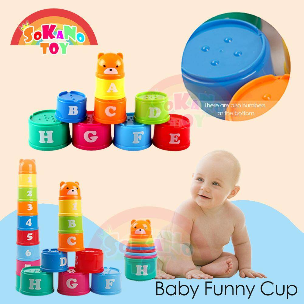 SOKANO TOY Baby Funny Cup - Learning Alphabet, Numeric and Color Concept