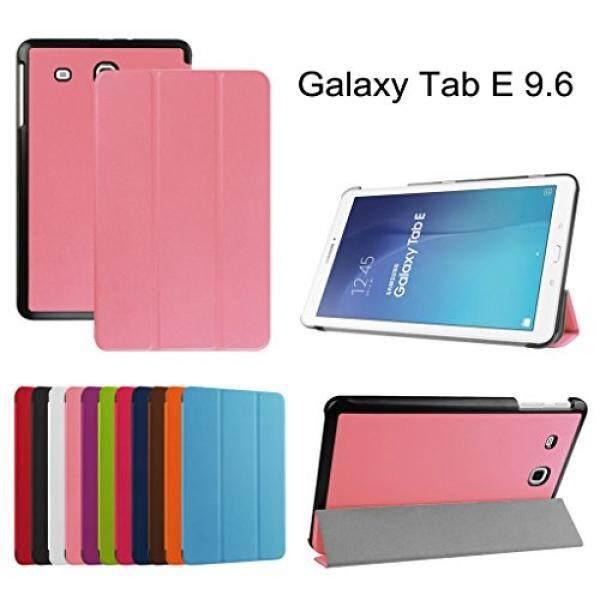 Keyboard Tablet Case Aksesoris S Samsung Galaxy Tab E 9.6 Slim Shell Case, mama Mouth Ultra Ramping Ringan 3 Lipat Kulit Pu Sarung Berdiri untuk Samsung Galaxy Tab E 9.6/E Sudut 9.6 Inch T560 t561 T567 Verizon 4G LTE berwarna Merah Muda-Internasional