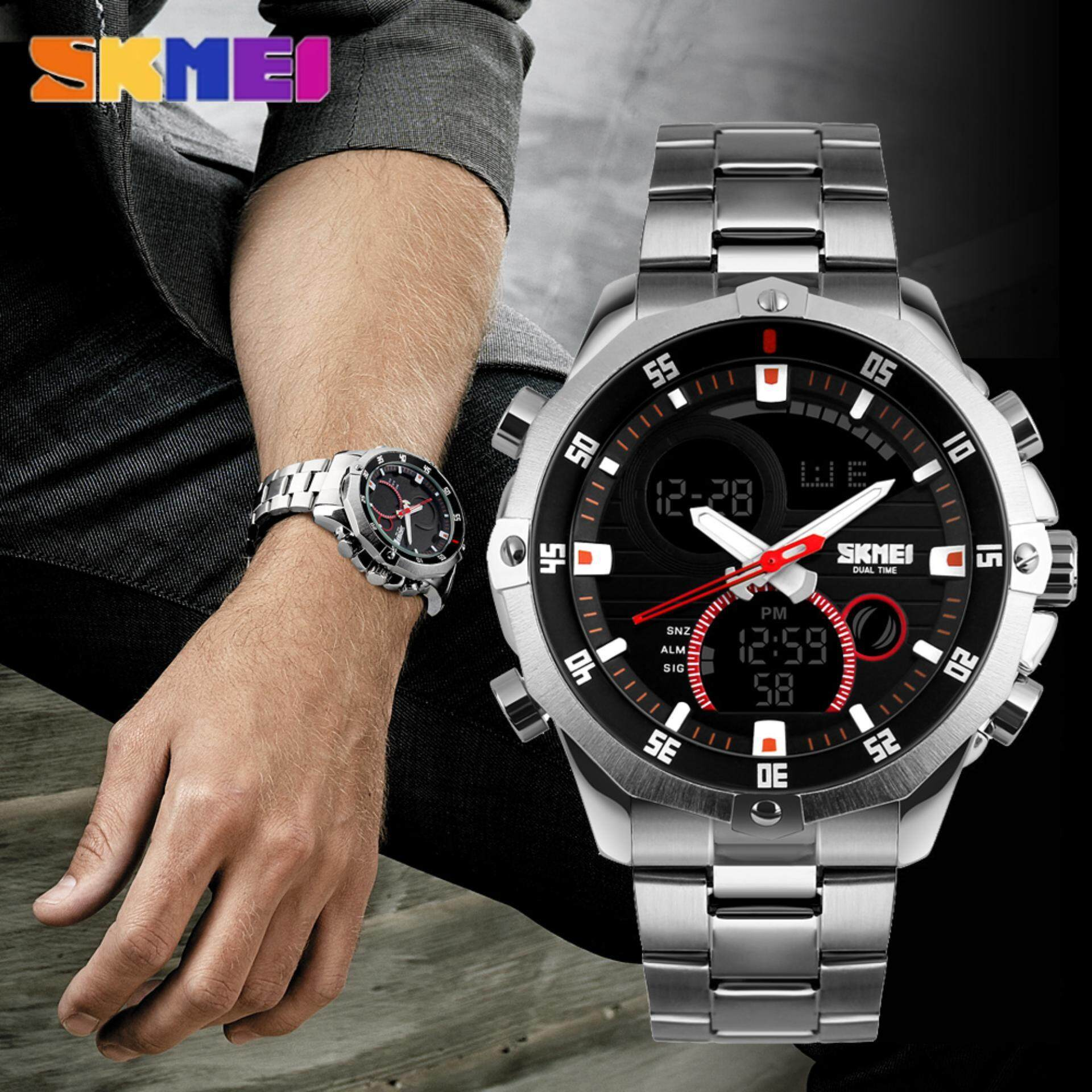 SKMEI Men Business Quartz Watches Stainless Steel Waterproof Watch Dual Display LED Digital Alarm Large Dial