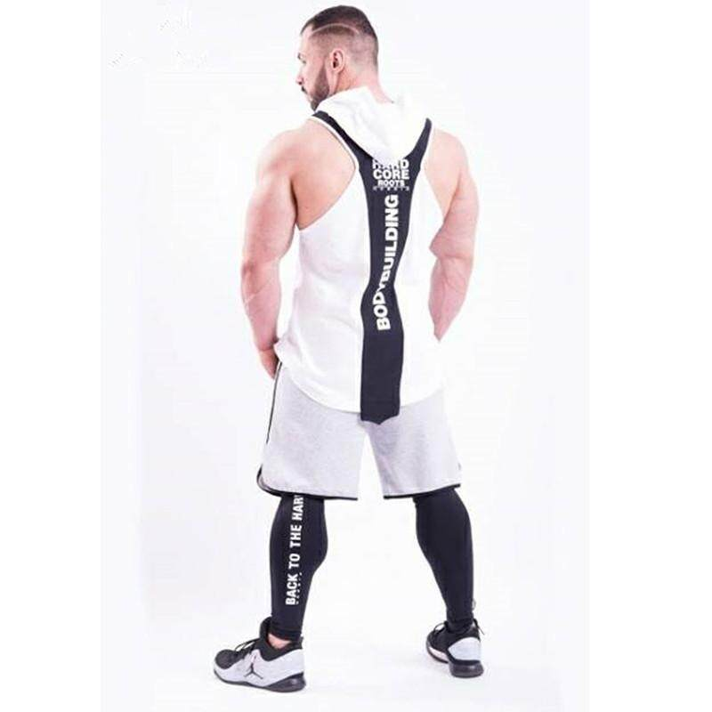 Summer Men Muscle Exercise Sports Vest Hooded Fitness Sleeveless Pullover Cotton Quick-Drying Top By Hypebeast Collection.