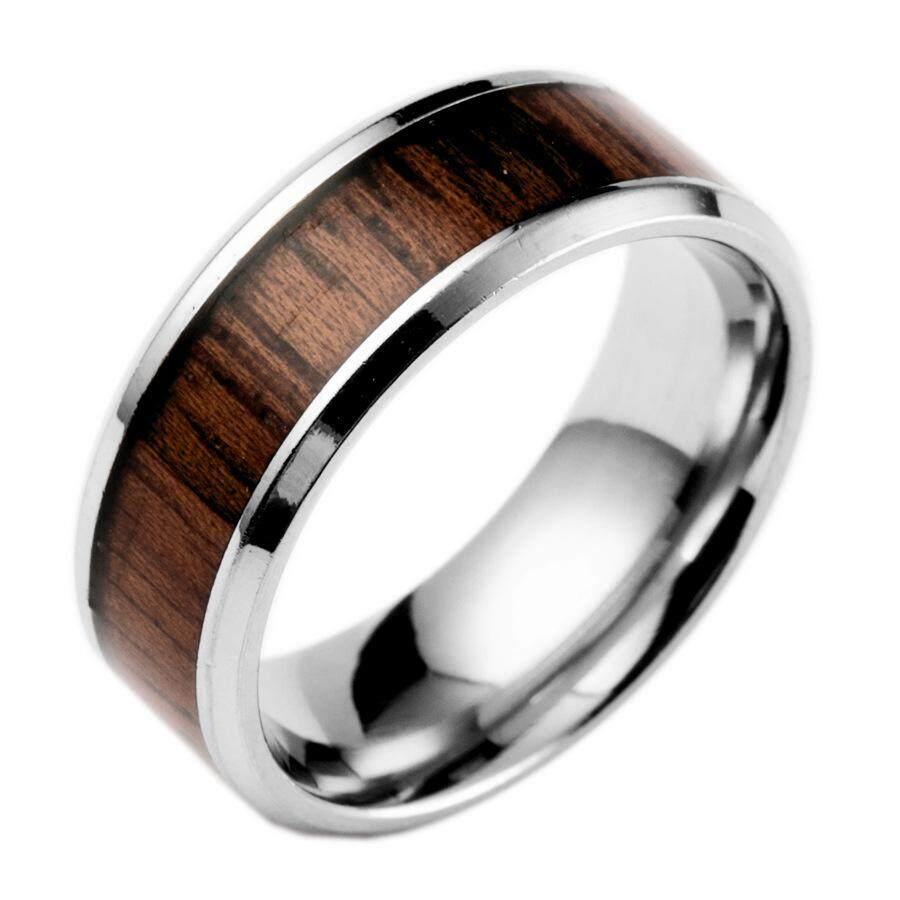 Fancyqube Eropa dan Amerika Populer Pernikahan Cincin Bertatahkan Jati Medis Anti Karat Perhiasan Cincin Baja Titanium-Internasional