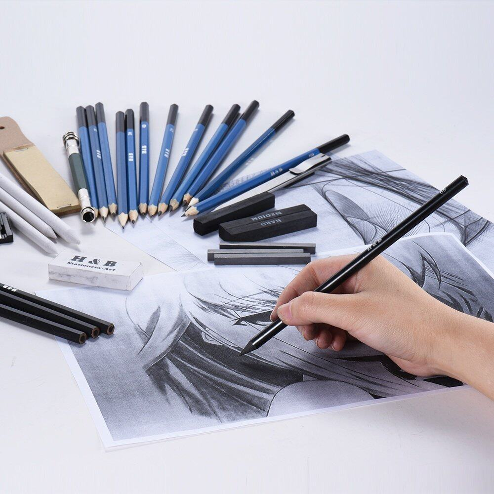 Product details of 32pcs set professional drawing sketch pencil kit including sketch pencils graphite charcoal pencils sticks erasers sharpeners with