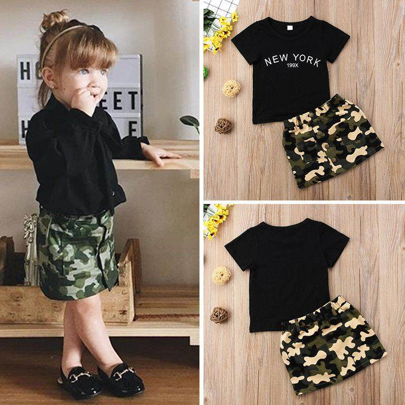 Bayi Anak Baru Lahir Gadis Hitam Sleevelesstop T-shirt Rok Kamuflase Gaun  Mini Pakaian Musim cf36372d82