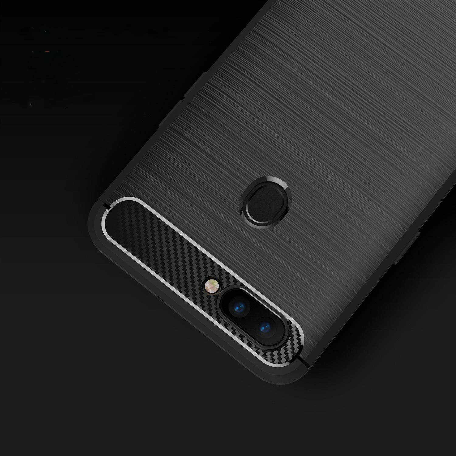... Oppo F7 plus Case Rugged Armor Back Cover Soft Silicone TPU Phone Case Carbon Fiber Texture ...