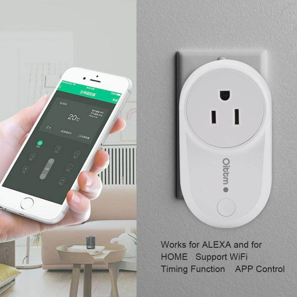 Hình ảnh Wifi Smart Outlet Smart Plug Mini Socket Outlet Works for Alexa/Google Home Wrieless Timer Control US Plug - intl