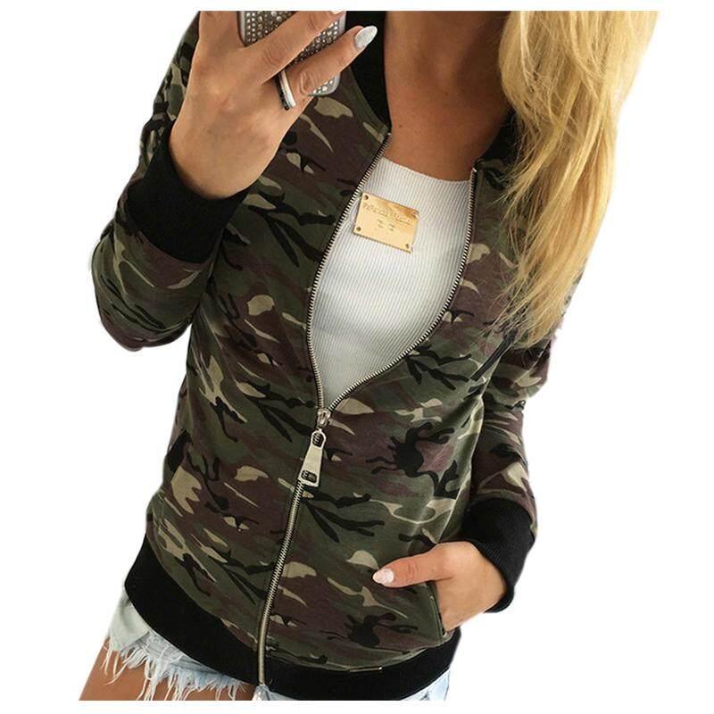 Women Camouflage Jacket Coat Autumn Winter Street Jacket Women Casual  Jackets(ARMY GREEN 3de6a9855d