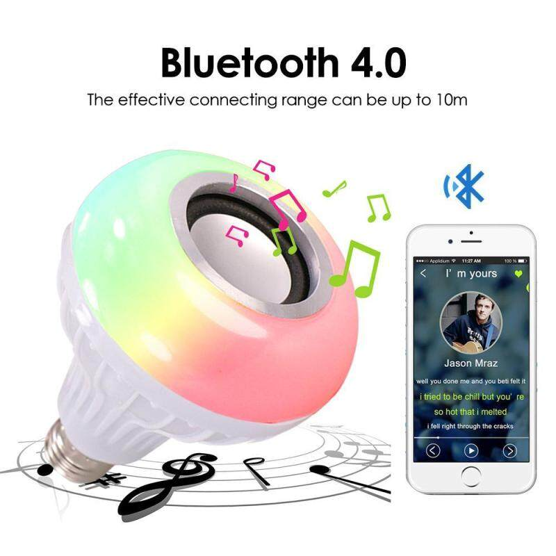 niceEshop Bluetooth Music Bulb E27 Base RGB Multicolor Changing LED Smart Bulb Speaker with 24keys Remote Control Singapore