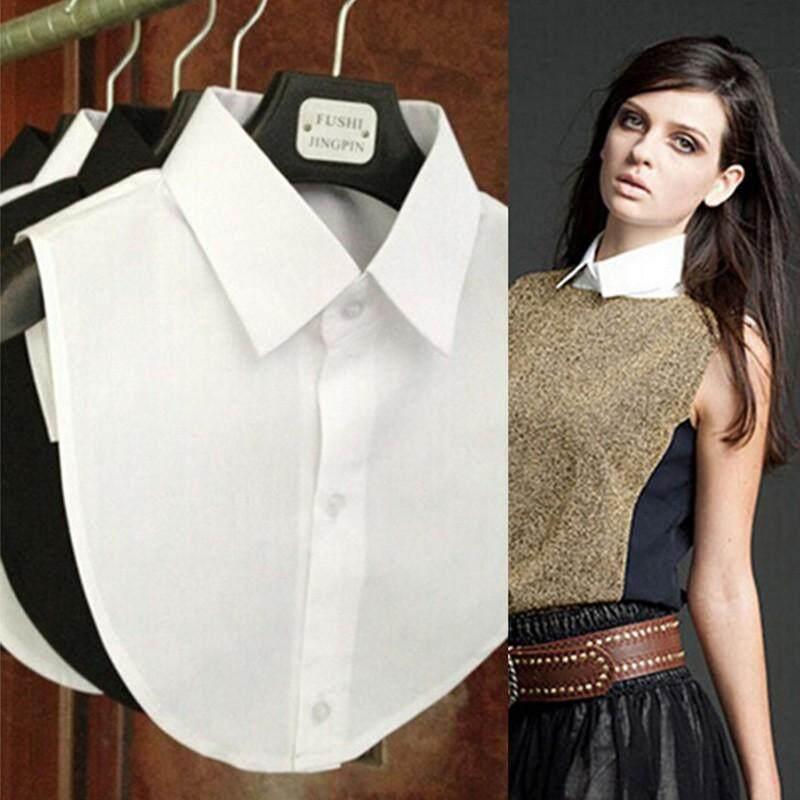 54e7d185318 Shirt Fake Collar White & Black Tie Vintage Detachable Collar False Collar  Lapel Blouse Top Women