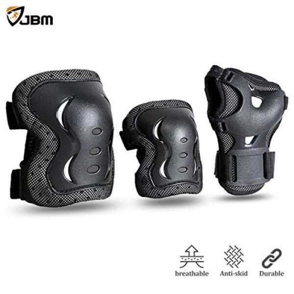 Jbm Internasional Jbm Anak-anak & Orang Dewasa Bersepeda Sepatu Roda Pergelangan Tangan Lutut Siku Bantalan Pelindung-Hitam/Ukuran Yang Dapat Disesuaikan, Cocok untuk Skateboard, bersepeda Sepeda Mini Naik dan Olahraga Ekstrim-Intl