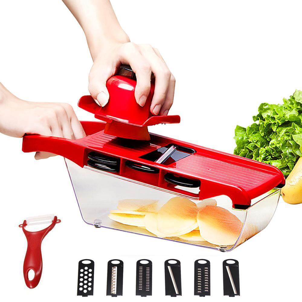 Oxoqo Slicer Vegetable Cutter Grater Chopper Julienne Slicer-6 Interchangeable Blades With Peeler,hand Protector,food Storage Container - Cutter For Potato,tomato,onion,cheese,cucumber Etc By Oxoqo.