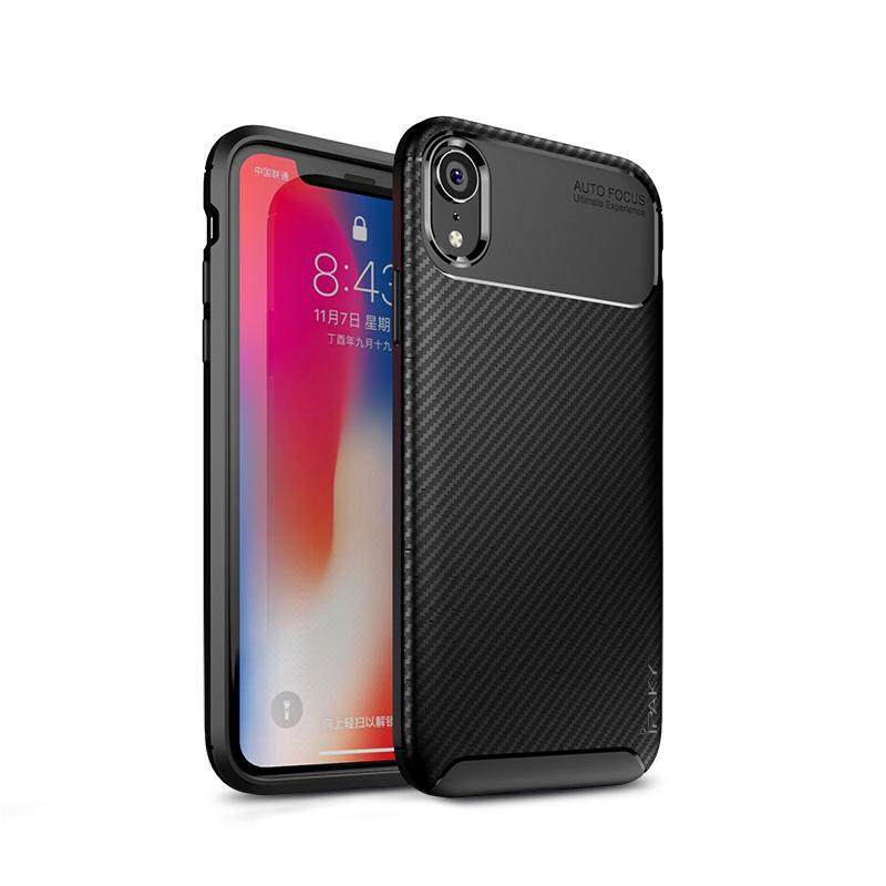 Untuk Apple iPhone XR Ipaky Carbon Fiber Pattem Case Sillicone Cover 6.1 Inch