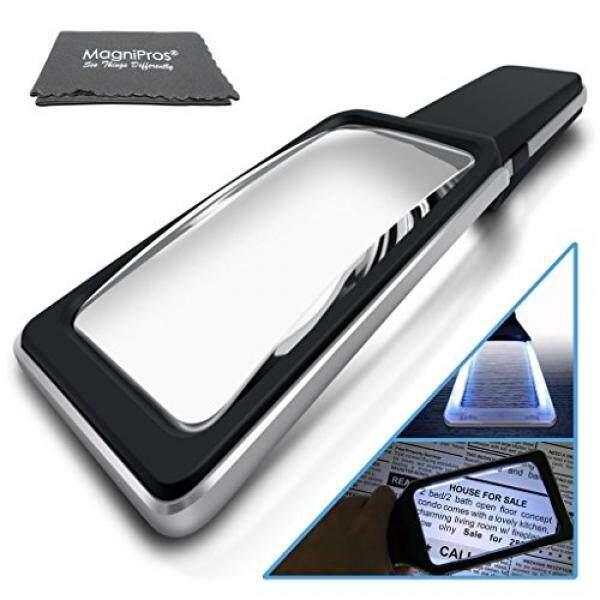 Magnipros 3X Besar & Lebar Secara Merata Menyala Area Tampilan Kaca Pembesar dengan 10 Ultra Terang Dimmable Anti-Glare LED (yang Paling Nyaman Pencahayaan Mata Anda) ideal Kecil Cetakan & Pandangan Rendah-Intl