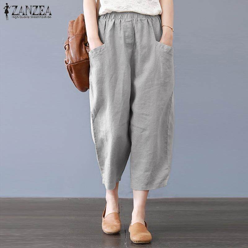 c7aa80b0161 ZANZEA Women Casual Cropped Pants Capris Cotton Loose Plus Size Trousers