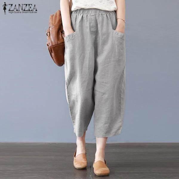 S-5XL ZANZEA Fashion Của Phụ Nữ Giản Dị Quần Harem Cotton Dân Tộc Quần Thụng Cỡ Lỡn