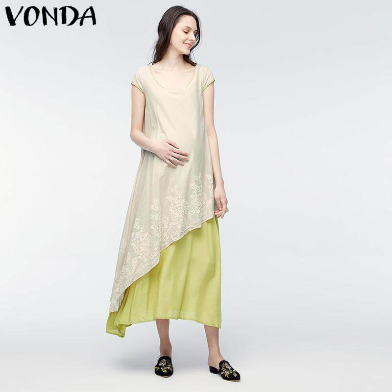 0d1b366542b VONDA Maternity Clothing 2018 Pregnant Women Casual Loose Dress Pregnancy  Retro Patchwork Asymmetrical Vestidos Plus Size