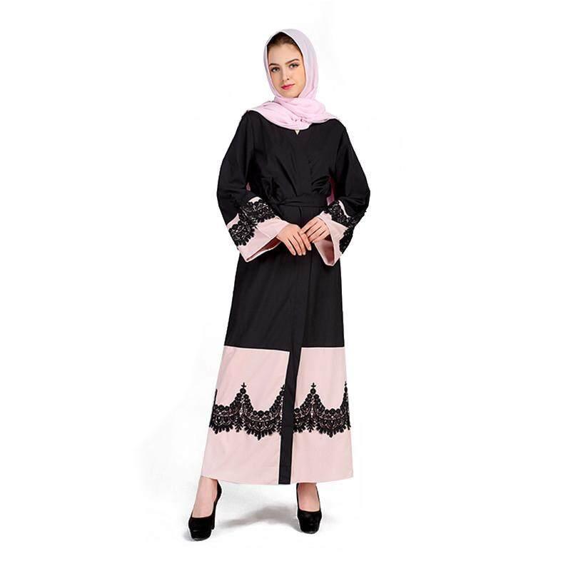 Women's New Elegant Abaya Turkish Caftan Dress Female Muslim Lace Stitching Arabia Ladies Temperament Lace Gown