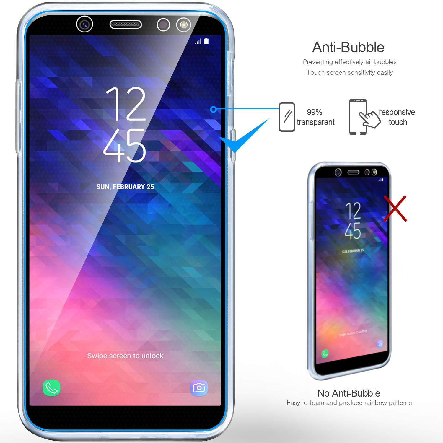 ... Rymall For Samsung Galaxy A6 2018 Case Full Coverage Front and Back Shockproof TPU 360 degree ...