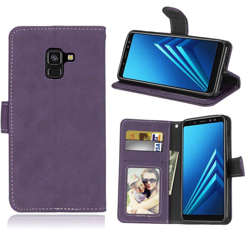 Case untuk Samsung Galaxy A8 2018 Retro PU Dompet Kulit Flip Stand Cover dengan ID Kartu