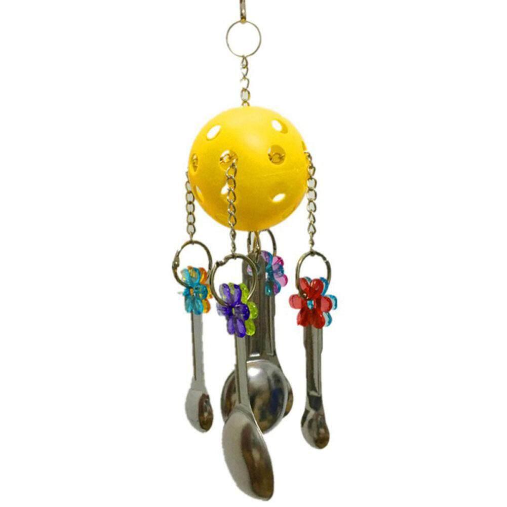 Hossen Parrot กัดอะคริลิคช้อนโลหะ String Design ของเล่นฝึกเคี้ยว Bird กรงนกคอกคาทีลจี้ตกแต่ง By Hossen.