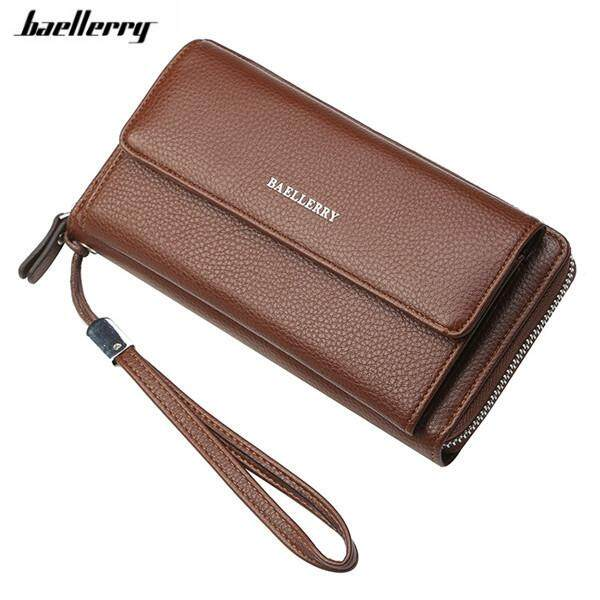 1e52ac923c9 Baellerry New Wristband Wallet Male Soft Leather Card Holder Phone Pocket  Clutch Purse for Man