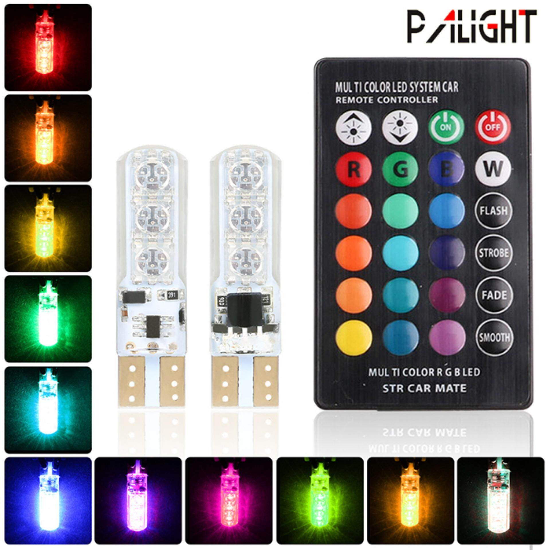 PAlight 1 Pair RGB Car Decoration Light T10 5050 Remote Control 12V 6 SMD Light Bulbs