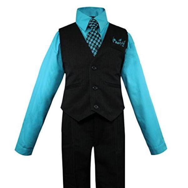 Luca Gabriel Balita Anak Laki-laki 4 Piece Rompi Garis-garis Tipis Kemeja Celana Ketat dan Hanky Set Turquoise-3 T-Intl
